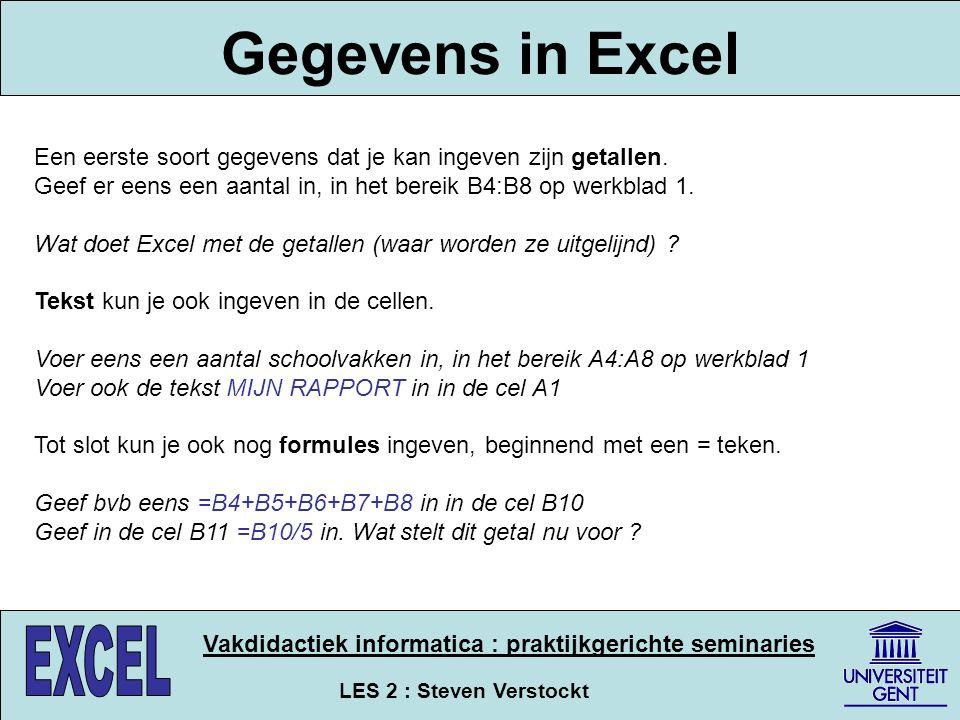 LES 2 : Steven Verstockt Vakdidactiek informatica : praktijkgerichte seminaries Gegevens in Excel Een eerste soort gegevens dat je kan ingeven zijn ge