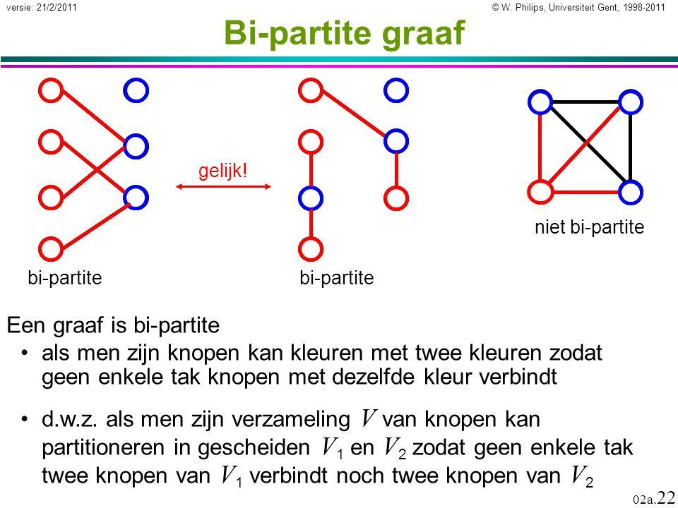 © W. Philips, Universiteit Gent, 1998-2011versie: 21/2/2011 02a. 22 Bi-partite graaf Een graaf is bi-partite als men zijn knopen kan kleuren met twee