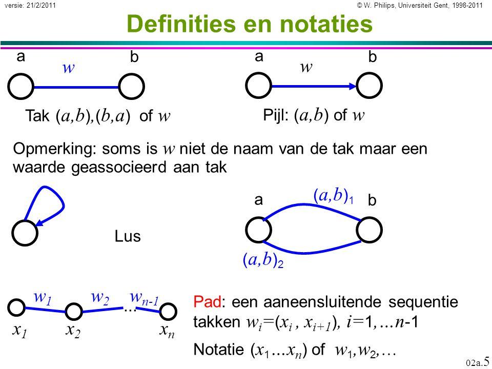 © W. Philips, Universiteit Gent, 1998-2011versie: 21/2/2011 02a. 5 Definities en notaties a b Tak ( a,b ), ( b,a ) of w w Lus Pijl: ( a,b ) of w w a b