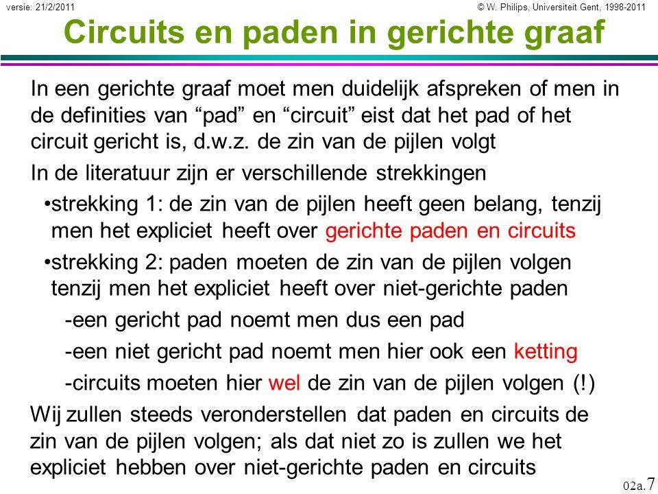 © W. Philips, Universiteit Gent, 1998-2011versie: 21/2/2011 02a. 7 Circuits en paden in gerichte graaf In een gerichte graaf moet men duidelijk afspre