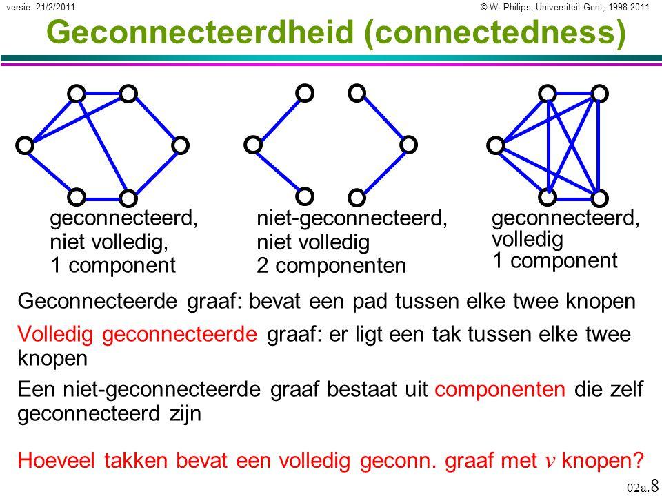 © W. Philips, Universiteit Gent, 1998-2011versie: 21/2/2011 02a. 8 Geconnecteerdheid (connectedness) Volledig geconnecteerde graaf: er ligt een tak tu
