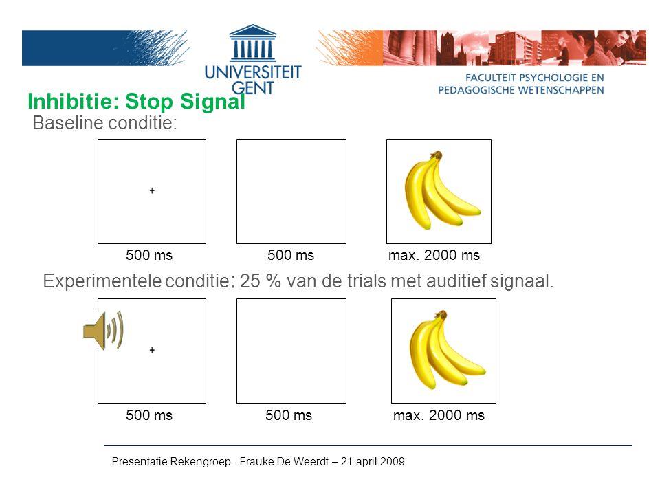 Inhibitie: Stop Signal Presentatie Rekengroep - Frauke De Weerdt – 21 april 2009 Experimentele conditie : 25 % van de trials met auditief signaal. Bas