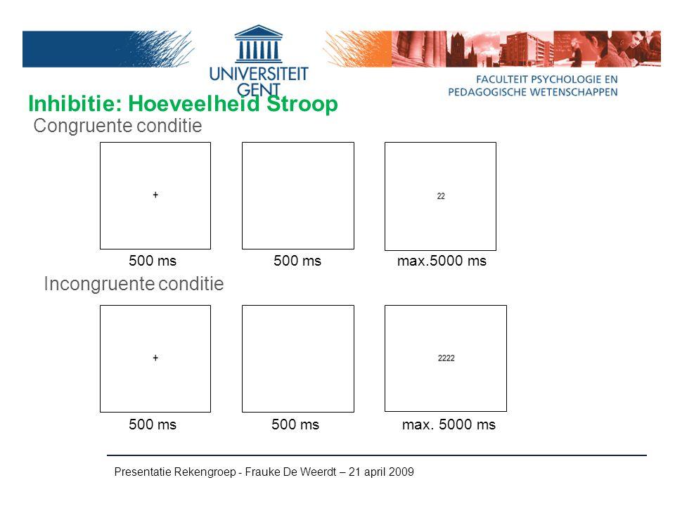 Inhibitie: Hoeveelheid Stroop Presentatie Rekengroep - Frauke De Weerdt – 21 april 2009 Incongruente conditie Congruente conditie 500 ms max.5000 ms 5