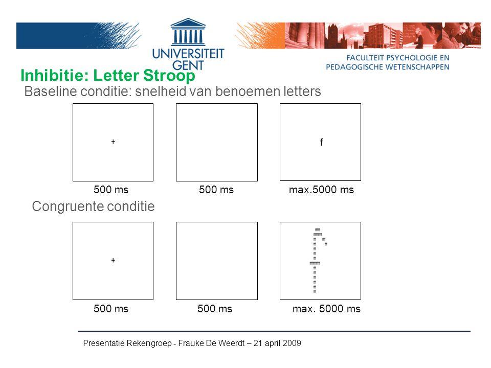 Inhibitie: Letter Stroop Presentatie Rekengroep - Frauke De Weerdt – 21 april 2009 Congruente conditie Baseline conditie: snelheid van benoemen letter