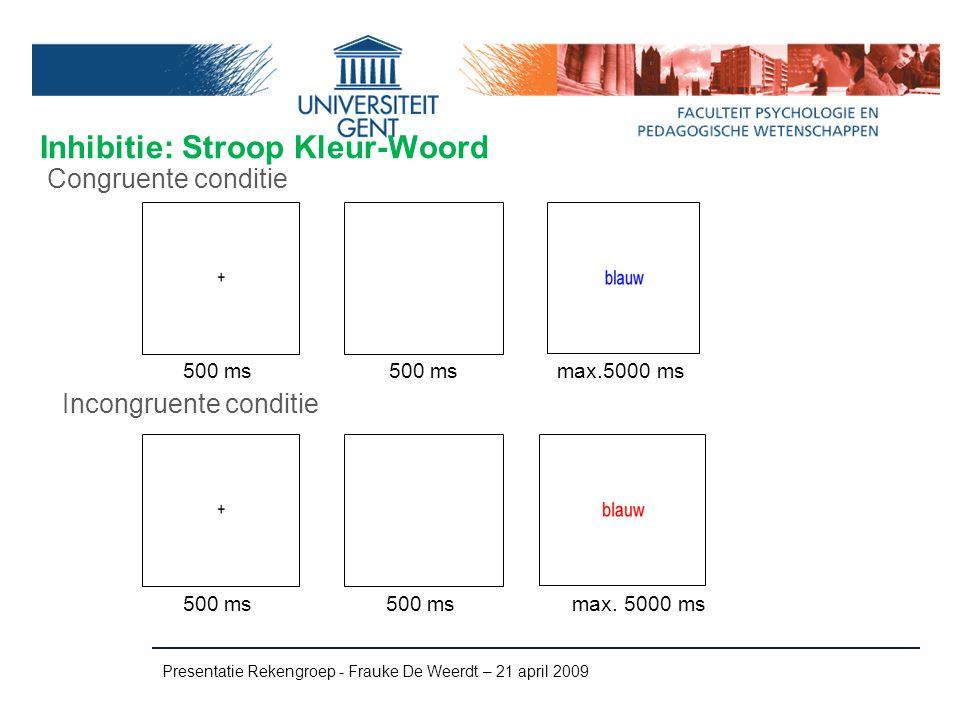 Inhibitie: Stroop Kleur-Woord Presentatie Rekengroep - Frauke De Weerdt – 21 april 2009 Incongruente conditie Congruente conditie 500 ms max.5000 ms 5