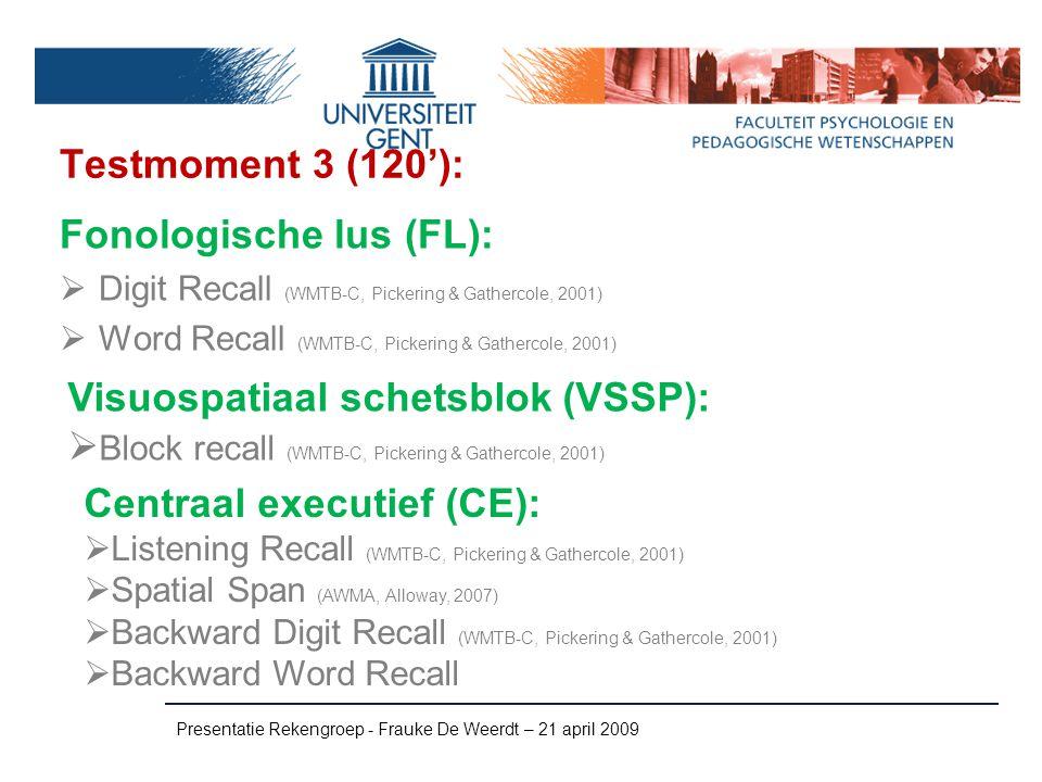 Testmoment 3 (120'): Presentatie Rekengroep - Frauke De Weerdt – 21 april 2009 Fonologische lus (FL):  Digit Recall (WMTB-C, Pickering & Gathercole,