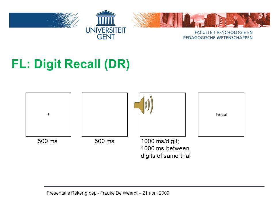 FL: Digit Recall (DR) Presentatie Rekengroep - Frauke De Weerdt – 21 april 2009 500 ms 1000 ms/digit; 1000 ms between digits of same trial