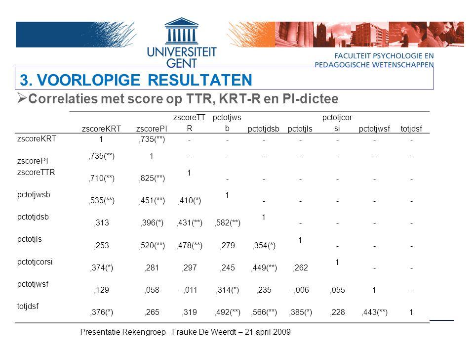 Presentatie Rekengroep - Frauke De Weerdt – 21 april 2009  Correlaties met score op TTR, KRT-R en PI-dictee 3. VOORLOPIGE RESULTATEN zscoreKRTzscoreP