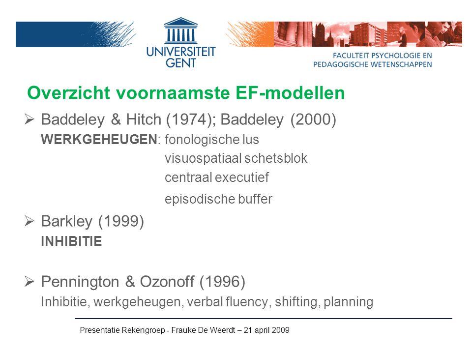 Overzicht voornaamste EF-modellen  Baddeley & Hitch (1974); Baddeley (2000) WERKGEHEUGEN: fonologische lus visuospatiaal schetsblok centraal executie