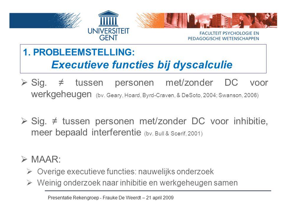 Presentatie Rekengroep - Frauke De Weerdt – 21 april 2009 Maten voor executieve functies inhibitiewerkgeheugenswitching Stop SignaltaskStroop taskD-KEFSinhibtionD-KEFSinh.