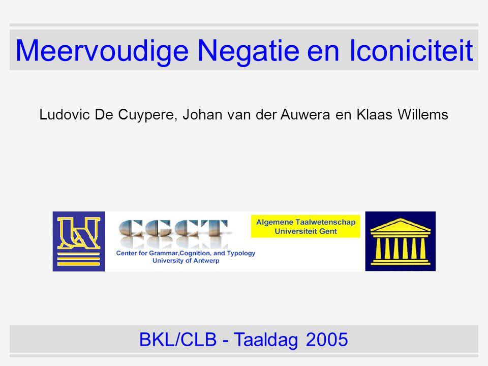 Meervoudige Negatie en Iconiciteit Ludovic De Cuypere, Johan van der Auwera en Klaas Willems BKL/CLB - Taaldag 2005