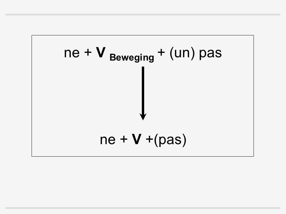 ne + V Beweging + (un) pas ne + V +(pas)
