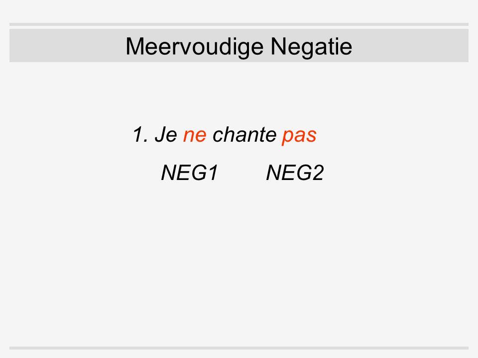 Meervoudige Negatie 1. Je ne chante pas NEG1 NEG2
