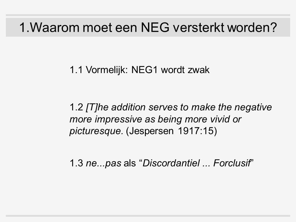 1.Waarom moet een NEG versterkt worden? 1.1 Vormelijk: NEG1 wordt zwak 1.2 [T]he addition serves to make the negative more impressive as being more vi
