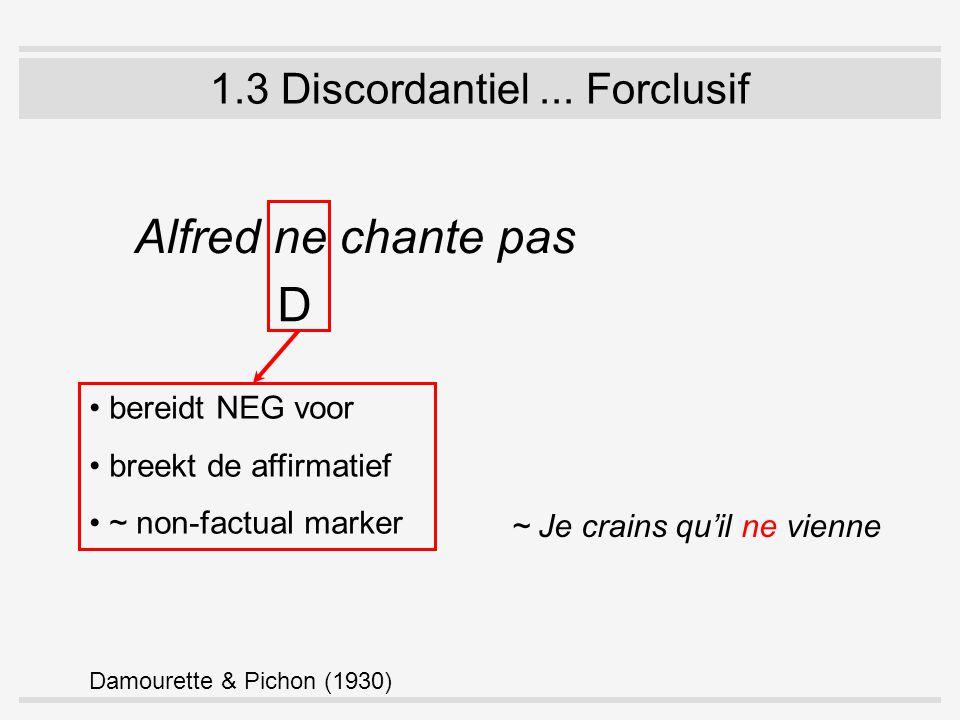 1.3 Discordantiel... Forclusif Alfred ne chante pas D bereidt NEG voor breekt de affirmatief ~ non-factual marker Damourette & Pichon (1930) ~ Je crai