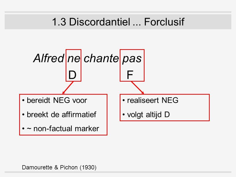 1.3 Discordantiel... Forclusif Alfred ne chante pas DF bereidt NEG voor breekt de affirmatief ~ non-factual marker realiseert NEG volgt altijd D Damou