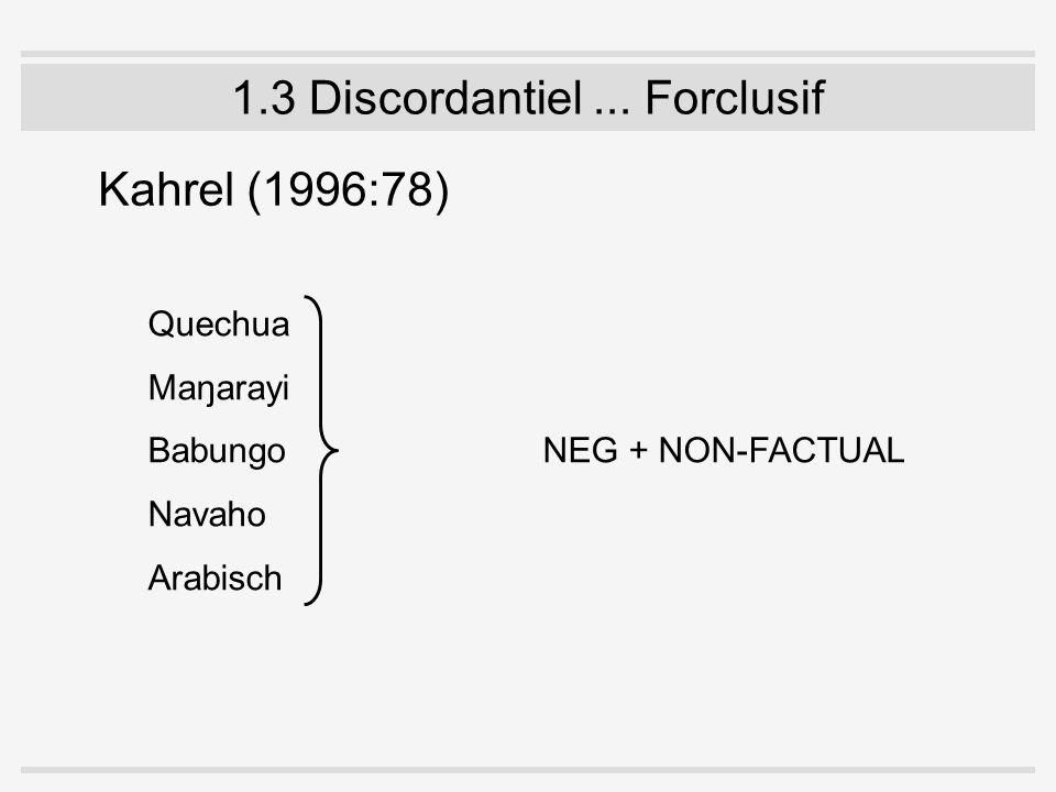 1.3 Discordantiel... Forclusif Kahrel (1996:78) Quechua Maŋarayi Babungo NEG + NON-FACTUAL Navaho Arabisch