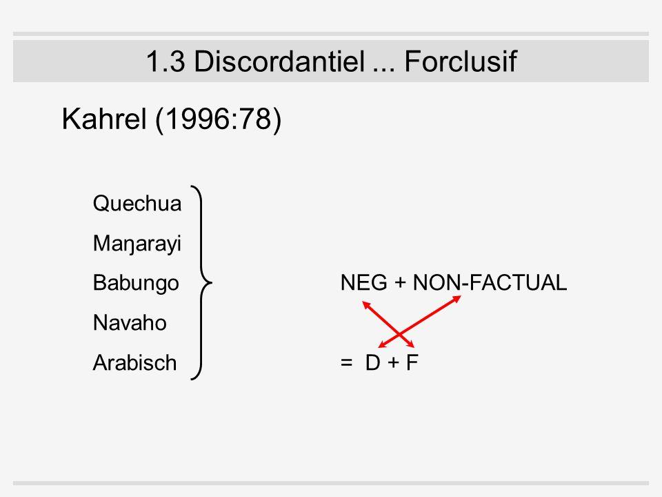 1.3 Discordantiel... Forclusif Kahrel (1996:78) Quechua Maŋarayi Babungo NEG + NON-FACTUAL Navaho Arabisch = D + F