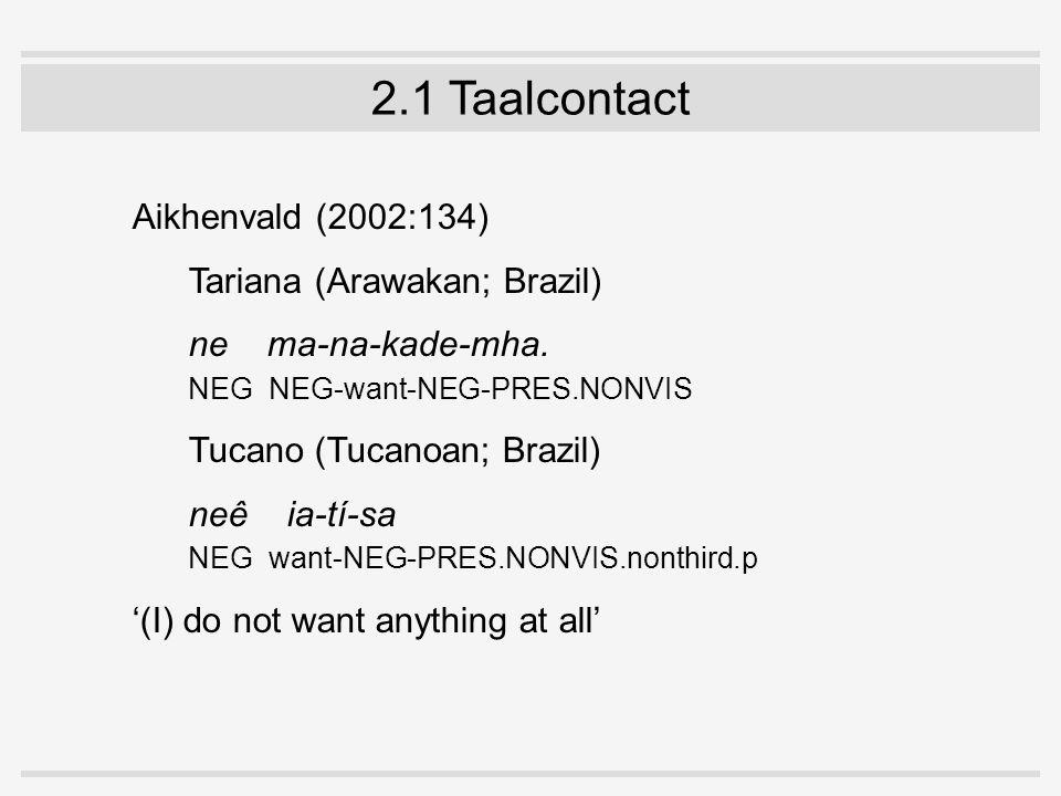 2.1 Taalcontact Aikhenvald (2002:134) Tariana (Arawakan; Brazil) ne ma-na-kade-mha.