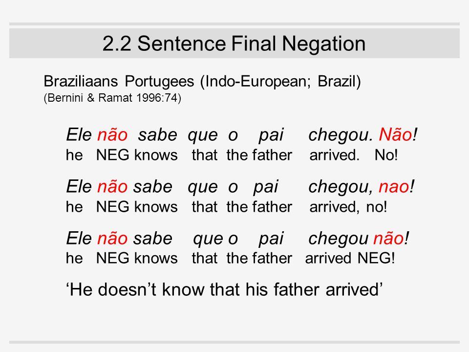 2.2 Sentence Final Negation Braziliaans Portugees (Indo-European; Brazil) (Bernini & Ramat 1996:74) Ele não sabe que o pai chegou.
