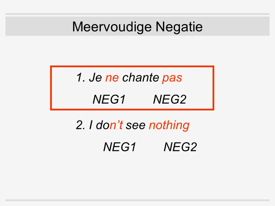 1.1 Vormelijk: NEG1 wordt zwak  danger of becoming unrecognizable (Bernini & Ramat 1996:30) OE menn ne cunnon [mεn:ə kun:õ] men NEG know 'the men didn't know'