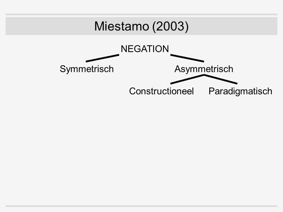SymmetrischAsymmetrisch NEGATION ConstructioneelParadigmatisch Miestamo (2003)