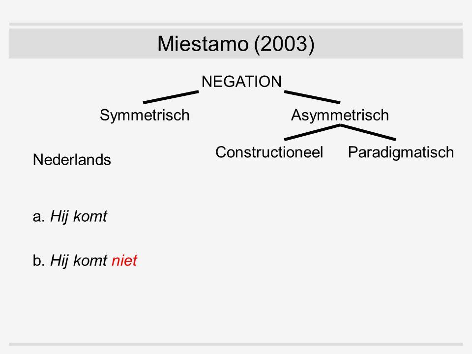 SymmetrischAsymmetrisch NEGATION ConstructioneelParadigmatisch Nederlands a. Hij komt b. Hij komt niet Miestamo (2003)