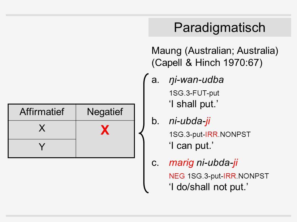Paradigmatisch Maung (Australian; Australia) (Capell & Hinch 1970:67) a.ŋi-wan-udba 1SG.3-FUT-put 'I shall put.' b.ni-ubda-ji 1SG.3-put-IRR.NONPST 'I can put.' c.