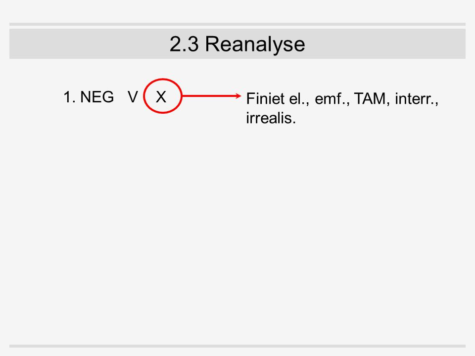 2.3 Reanalyse 1. NEGV X Finiet el., emf., TAM, interr., irrealis.