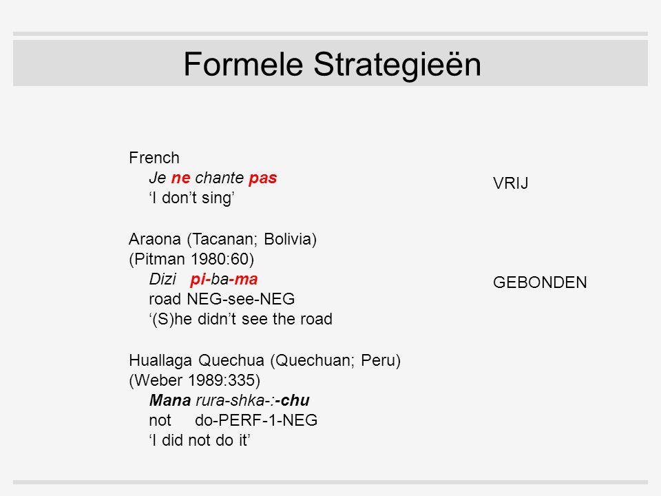 Formele Strategieën Araona (Tacanan; Bolivia) (Pitman 1980:60) Dizi pi-ba-ma road NEG-see-NEG '(S)he didn't see the road' French Je ne chante pas 'I don't sing' Huallaga Quechua (Quechuan; Peru) (Weber 1989:335) Mana rura-shka-:-chu not do-PERF-1-NEG 'I did not do it' VRIJ GEBONDEN COMBINATIE