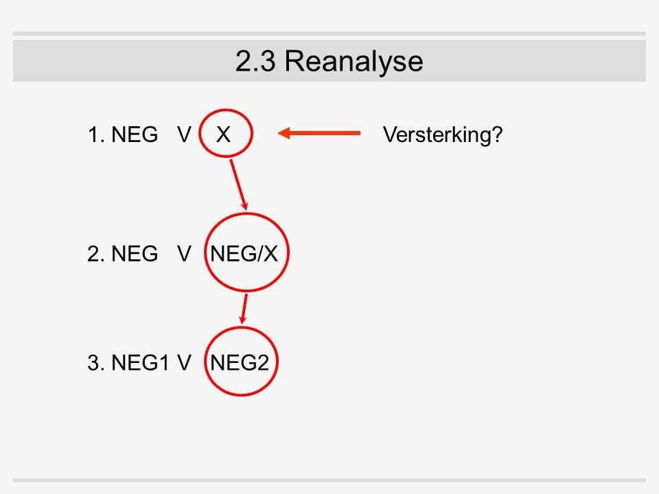 2.3 Reanalyse 1. NEGV X 2. NEGV NEG/X 3. NEG1V NEG2 Versterking?