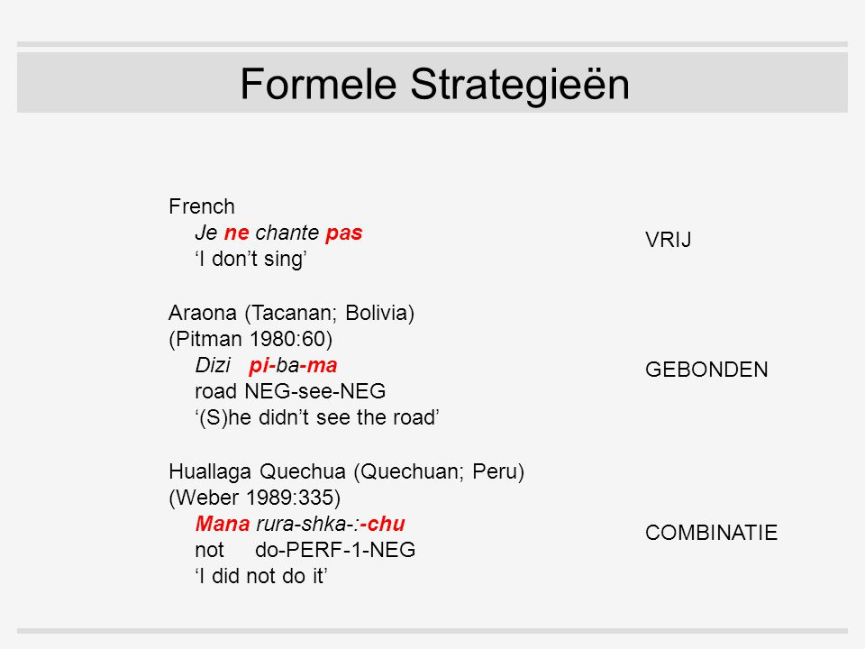 Formele Strategieën Araona (Tacanan; Bolivia) (Pitman 1980:60) Dizi pi-ba-ma road NEG-see-NEG '(S)he didn't see the road' French Je ne chante pas 'I don't sing' Huallaga Quechua (Quechuan; Peru) (Weber 1989:335) Mana rura-shka-:-chu not do-PERF-1-NEG 'I did not do it' VRIJ GEBONDEN COMBINATIE