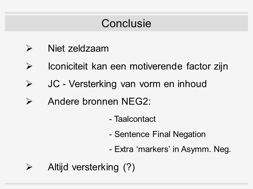 Conclusie  Niet zeldzaam  Iconiciteit kan een motiverende factor zijn  JC - Versterking van vorm en inhoud  Andere bronnen NEG2: - Taalcontact - Sentence Final Negation - Extra 'markers' in Asymm.