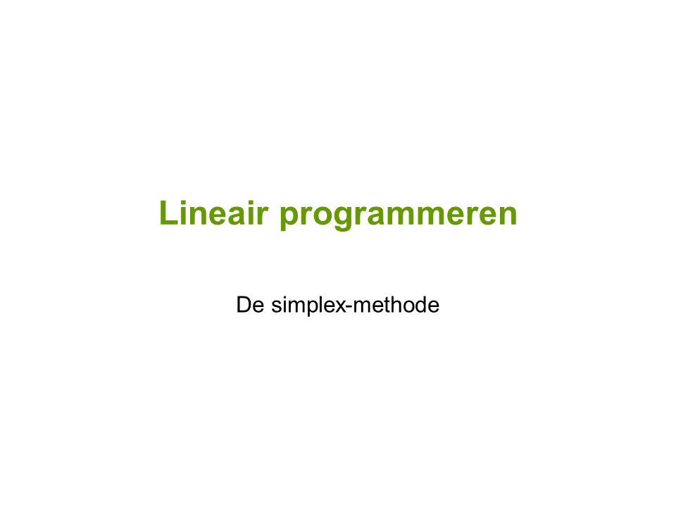 Lineair programmeren De simplex-methode