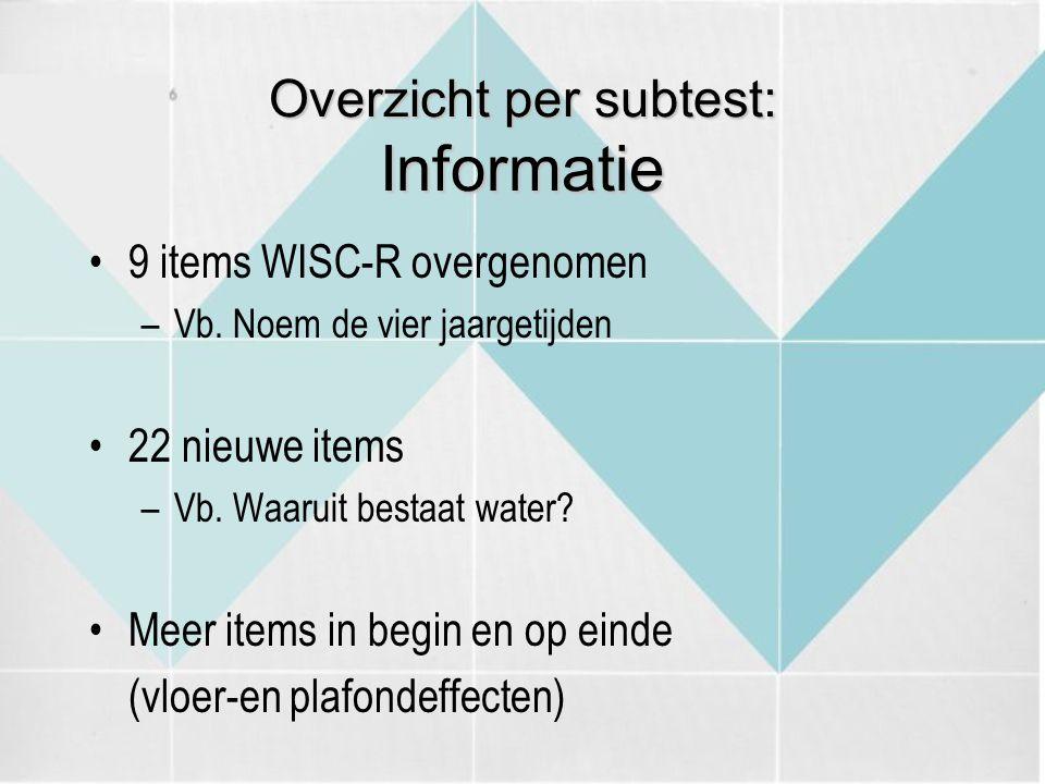 Overzicht per subtest: Informatie 9 items WISC-R overgenomen –Vb. Noem de vier jaargetijden 22 nieuwe items –Vb. Waaruit bestaat water? Meer items in