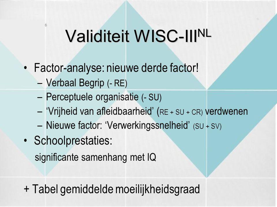 Validiteit WISC-III NL Factor-analyse: nieuwe derde factor! –Verbaal Begrip (- RE) –Perceptuele organisatie (- SU) –'Vrijheid van afleidbaarheid' ( RE