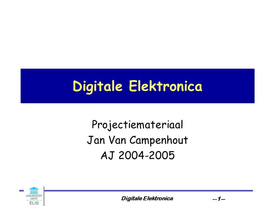 Digitale Elektronica --41-- Systeem Algoritme circuit Gedrag Logische Structuur Fysische Structuur R/T logisch Het ontwerptraject de formaliseringsstap Eerste hoofdstap is formalisering: het in machineleesbare vorm brengen van vereisten Resultaat is gedragsbeschrijving.