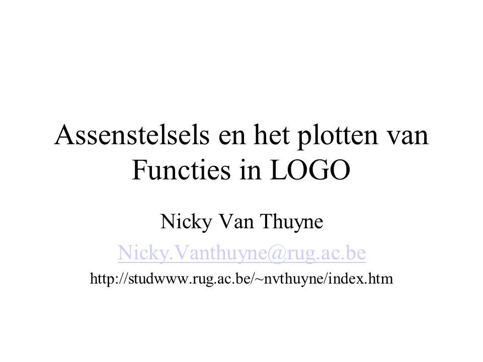 Assenstelsels en het plotten van Functies in LOGO Nicky Van Thuyne Nicky.Vanthuyne@rug.ac.be http://studwww.rug.ac.be/~nvthuyne/index.htm