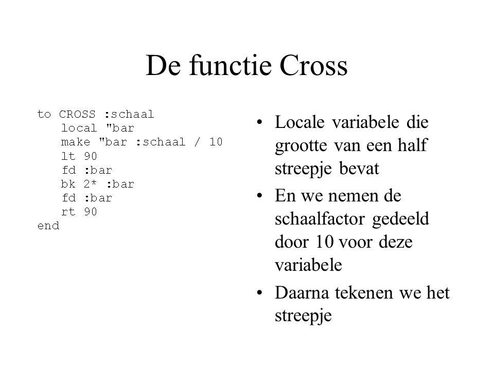 De functie Cross Locale variabele die grootte van een half streepje bevat En we nemen de schaalfactor gedeeld door 10 voor deze variabele Daarna tekenen we het streepje