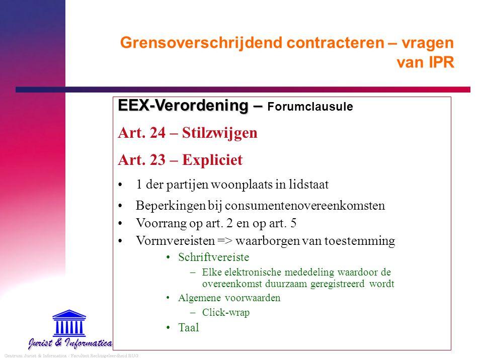 Grensoverschrijdend contracteren – vragen van IPR EEX-Verordening – EEX-Verordening – Forumclausule Art. 24 – Stilzwijgen Art. 23 – Expliciet 1 der pa