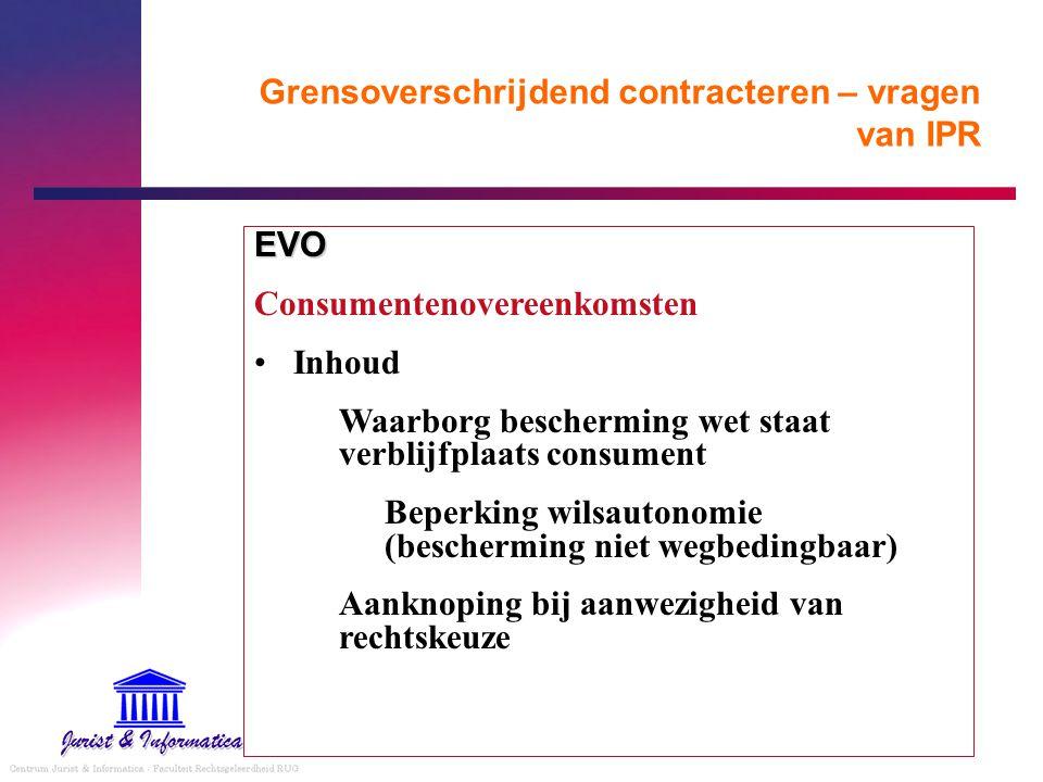 Grensoverschrijdend contracteren – vragen van IPR EVO Consumentenovereenkomsten Inhoud Waarborg bescherming wet staat verblijfplaats consument Beperki