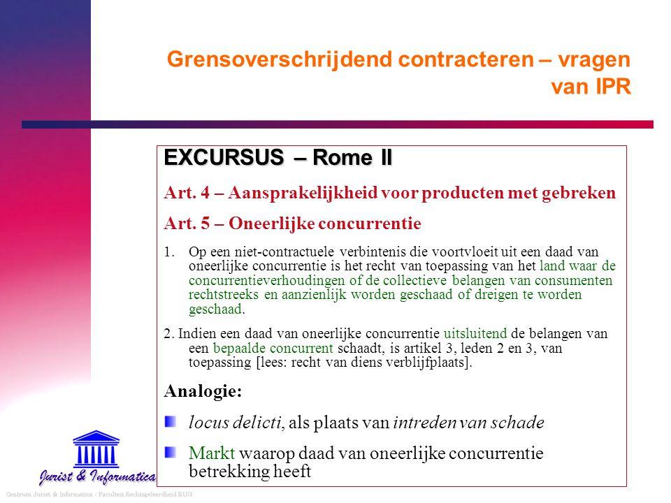 Grensoverschrijdend contracteren – vragen van IPR EXCURSUS – Rome II Art. 4 – Aansprakelijkheid voor producten met gebreken Art. 5 – Oneerlijke concur