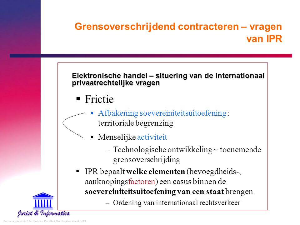 Grensoverschrijdend contracteren – vragen van IPR Elektronische handel – situering van de internationaal privaatrechtelijke vragen  Frictie Afbakenin