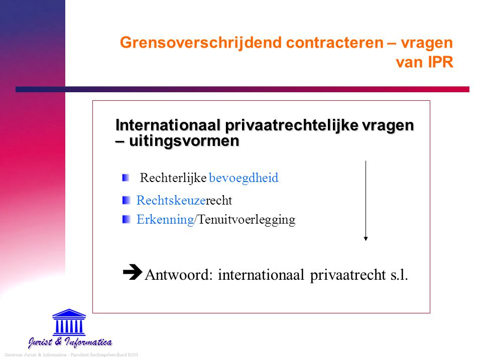 Grensoverschrijdend contracteren – vragen van IPR Internationaal privaatrechtelijke bronnen – selectie –Internationale bevoegdheid EEX EVEX EEX-Verordening Gemeen recht (ipr-codex ?) Initiatieven Haagse Conferentie