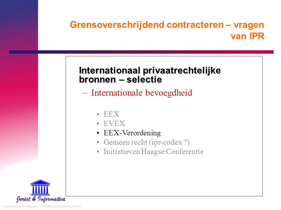 Grensoverschrijdend contracteren – vragen van IPR Wet E-handel Bijlage I - de vrijheid van de partijen om het op hun contract toepasselijke recht te kiezen; - contractuele verplichtingen betreffende consumentenovereenkomsten; - de formele geldigheid van contracten waarbij rechten op onroerende zaken ontstaan of worden overgedragen, indien op deze contracten ingevolge het recht van de lidstaat waar de onroerende zaak is gelegen, verplichte vormvereisten van toepassing zijn; - de toelaatbaarheid van ongevraagde commerciële communicatie per elektronische post.