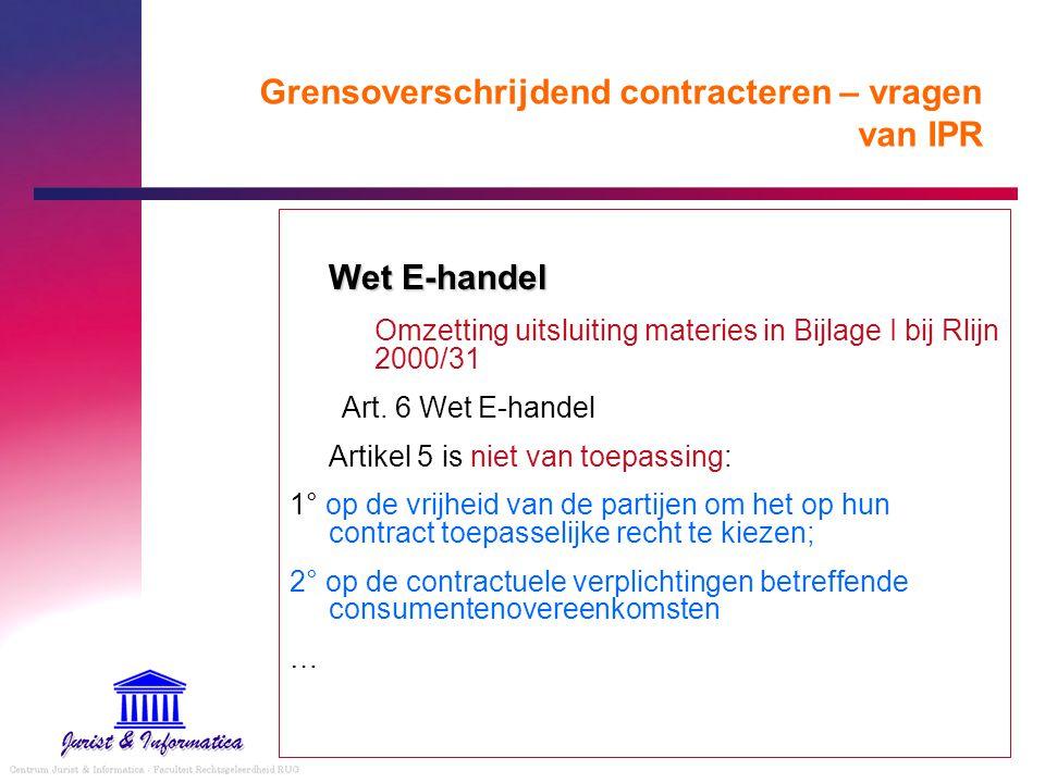 Grensoverschrijdend contracteren – vragen van IPR Wet E-handel Omzetting uitsluiting materies in Bijlage I bij Rlijn 2000/31 Art. 6 Wet E-handel Artik