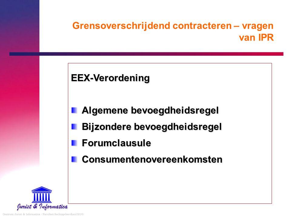 Grensoverschrijdend contracteren – vragen van IPR Wet E-handel Uitsluiting herkomstlandbeginsel – toelichting 2° CONTRACTUELE VERPLICHTINGEN BETREFFENDE CONSUMENTENOVEREENKOMSTEN Uitgangspunt: bescherming van de consument van de dwingende bepalingen betreffende contractuele verplichtingen van het recht van de lidstaat waar hij zijn gewone verblijfplaats heeft (overweging 55 Rlijn) Lijkt toegeschreven op art.
