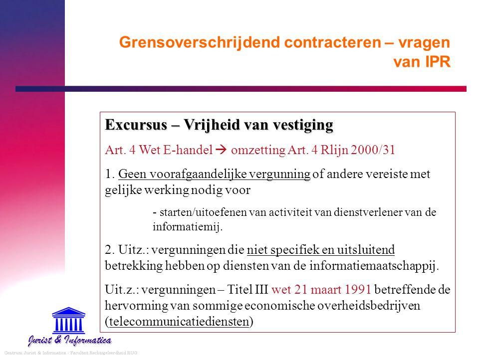 Grensoverschrijdend contracteren – vragen van IPR Excursus – Vrijheid van vestiging Art. 4 Wet E-handel  omzetting Art. 4 Rlijn 2000/31 1. Geen voora