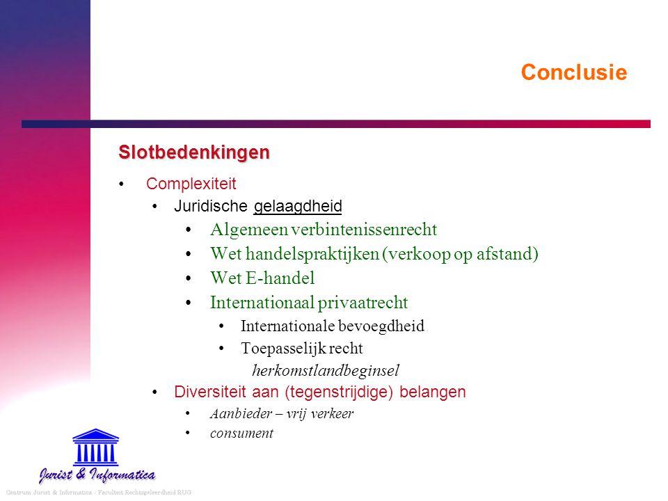 Conclusie Slotbedenkingen Complexiteit Juridische gelaagdheid Algemeen verbintenissenrecht Wet handelspraktijken (verkoop op afstand) Wet E-handel Int