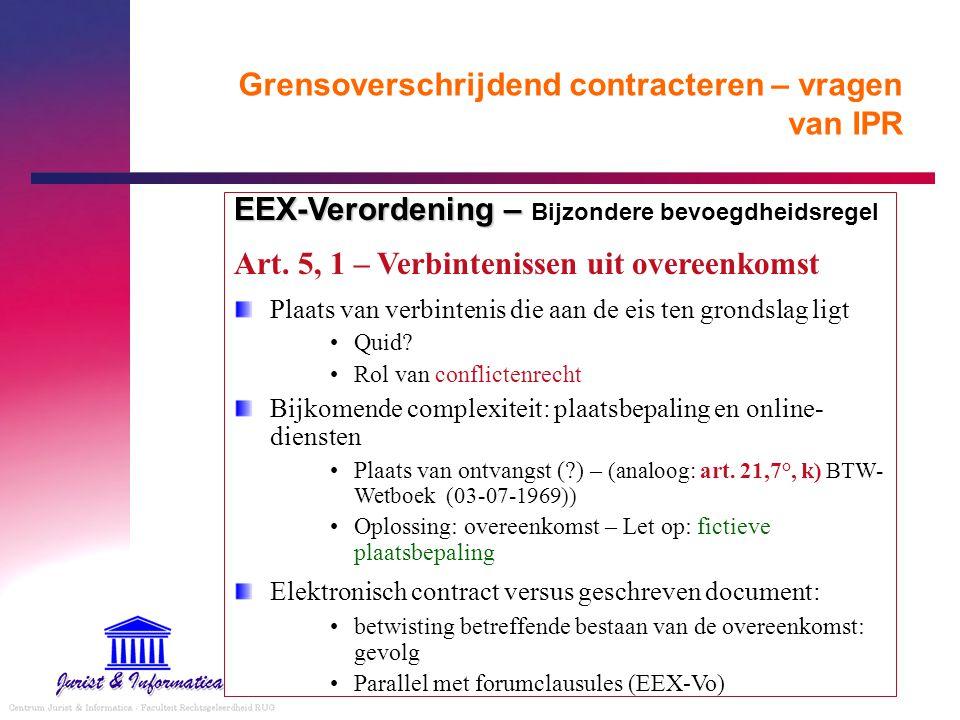 Grensoverschrijdend contracteren – vragen van IPR EEX-Verordening – EEX-Verordening – Bijzondere bevoegdheidsregel Art. 5, 1 – Verbintenissen uit over